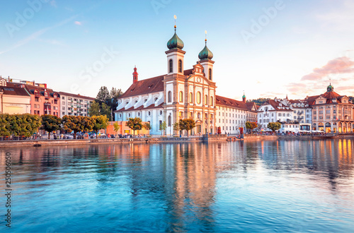 Fototapeta Scenic historic city center of Lucerne with famous buildings and lake Lucerne (V