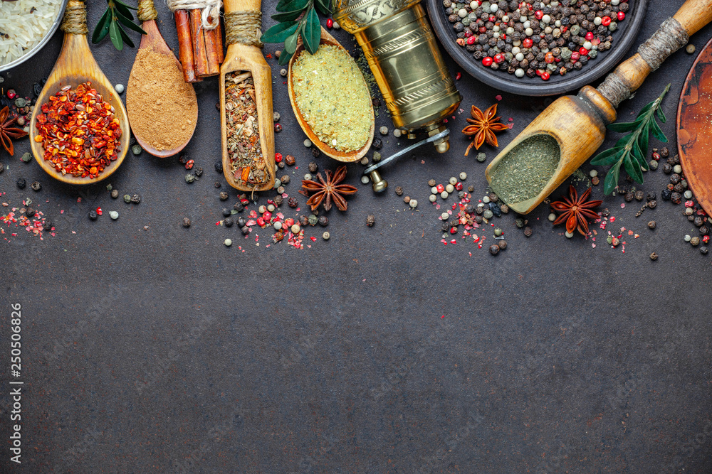 Fototapety, obrazy: Spices and seasonings for cooking in the composition on the table