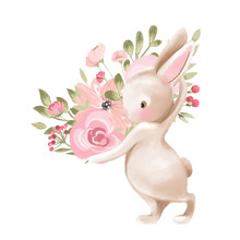 Cute Watercolor Baby Bunny Wit...