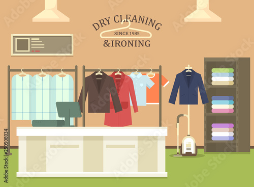 Cuadros en Lienzo Dry cleaning and ironing shop interior view