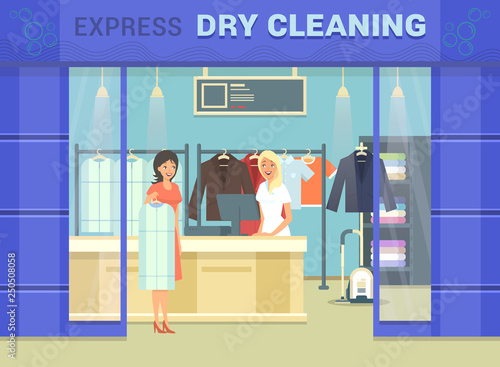 Fotografie, Obraz Showcase of dry cleaning store with cloth