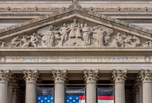 United States National Archive Building In Washington DC With USA Flag