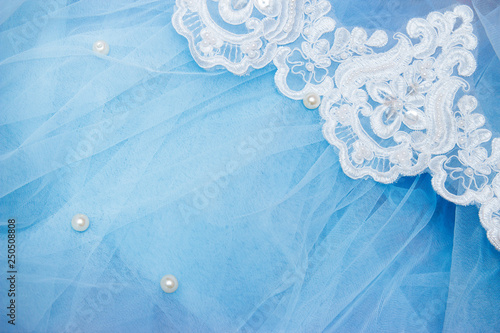 Photo  Lace on blue tulle with beads
