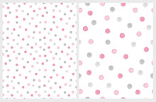 Cute Hand Drawn Abstract Irregular Polka Dots Vector Pattern Set. Gray And Pink Brush Dots On A White Background. Bright Watercolor  Style Vector Print. Simple Dotted Layout.