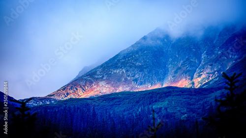 Fototapeta slovakian Tatra mountain high peaks on the blue sky background obraz na płótnie