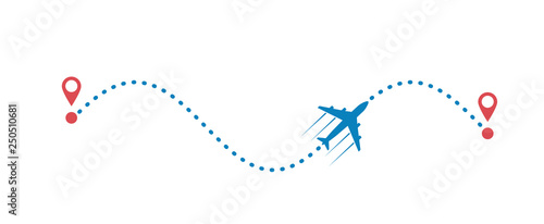 Fotografia plane and its track isolated on white background
