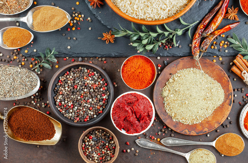 Printed kitchen splashbacks Spices Spices and seasonings for cooking in the composition on the table