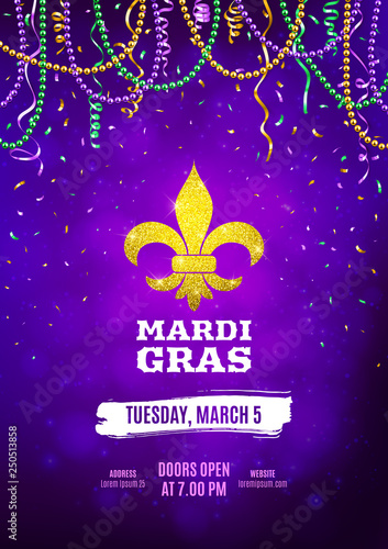 Mardi Gras flyer, decorative advertisement banner with colorful beads, vector il Fototapet