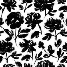 Spring Flowers Hand Drawn Seamless Pattern. Roses, Peonies, Chrysanthemums Blooming.
