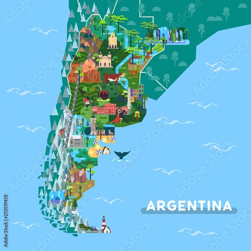 Landmarks or sightseeing places on Argentina map Fototapet