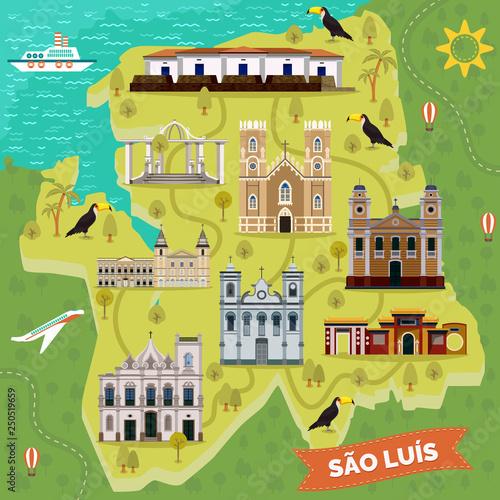 Landmarks on map of Sao Luis. Brazil sightseeing Canvas Print