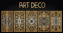 Golden Abstract Geometric Background. Art Deco Style, Trendy Vintage Design Element. Gold Grille On A Black Background. Gold Art Deco Panels. Gatsby Style. Vector Set Retro Pattern