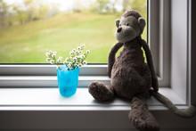 Stuffed Monkey Sits On Window Sill
