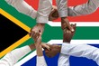 canvas print picture - South Africa flag, intergration of a multicultural group of young people