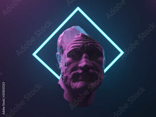 Papel de parede antique statue in neon light