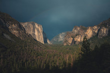 Scenic View Of Landscape Against Cloudscape At Yosemite National Park