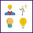 4 lightbulb icon. Vector illustration lightbulb set. invention and light bulb icons for lightbulb works