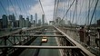 Brooklyn Bridge, Blurry move cars cars, move camera New York City, New York slide camera