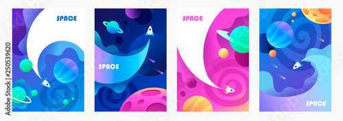 space explore. flying spaceship. set of vector cartoon banners. children's illustration.