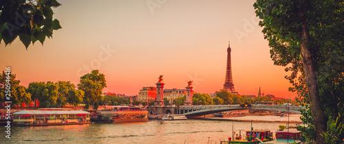 Fotografia  Sunset view of  Eiffel Tower, Alexander III Bridge and river Seine in Paris, France