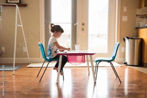 Valokuva  Little girl at art table