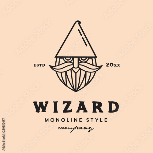 Photo monoline wizard face logo icon vector template