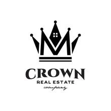 Crown Real Estate Logo Icon Vector Template