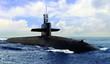 Leinwandbild Motiv Naval submarine on open blue sea surface