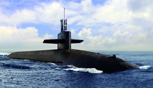 Naval Submarine On Open Blue S...