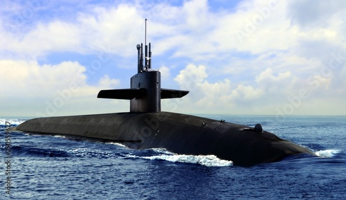 Foto Naval submarine on open blue sea surface