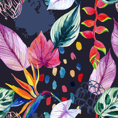 Fototapeta Liście Hand drawn abstract tropic summer background: watercolor colorful leaves, flowers, watercolour brushstrokes, grunge, scribble textures
