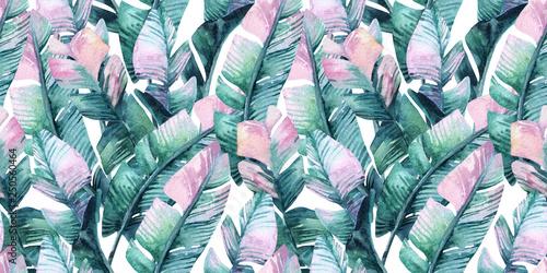 Printed kitchen splashbacks Watercolor Nature Exotic leaves background. Hand painted natural illustration