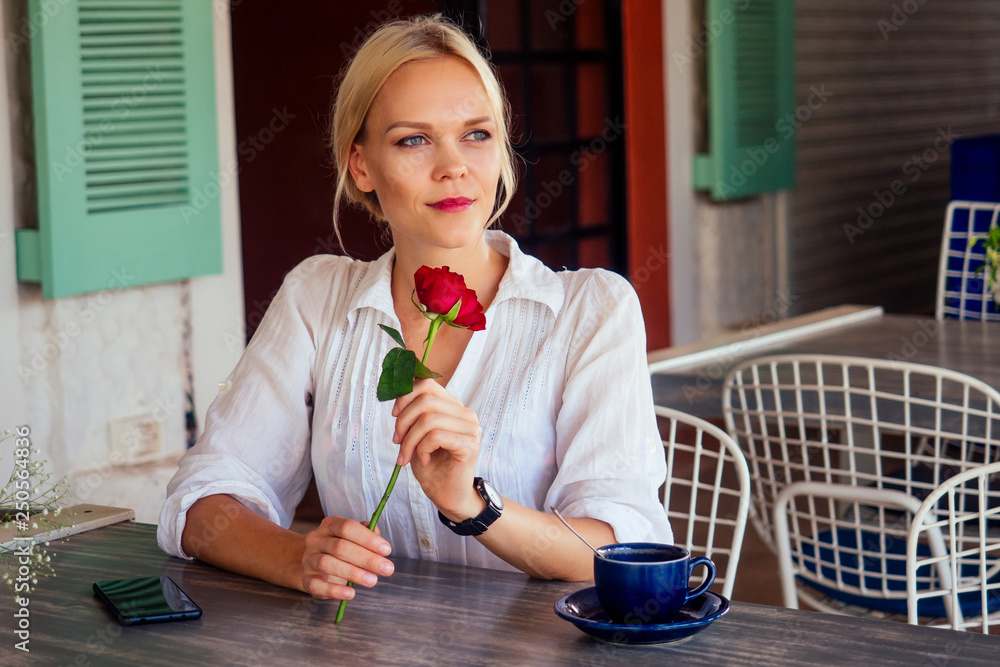 Fototapety, obrazy: lady with rose in restaurant summer cafe