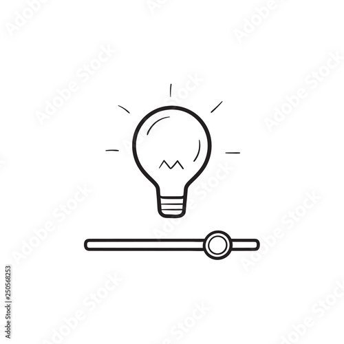 Photo Bulb with slider switch hand drawn outline doodle icon.