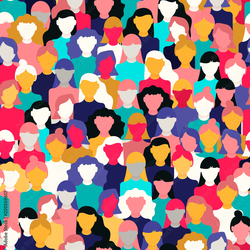 Fototapeta Diverse woman crowd pattern for women's day