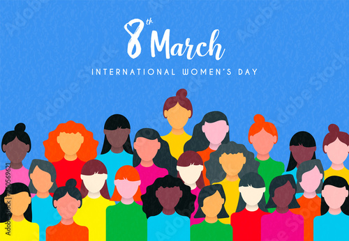 Womens Day card of diverse woman social group Fototapete
