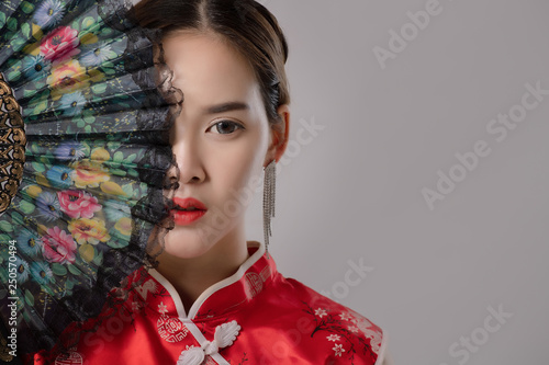 Fotografie, Obraz  Portrait Of Asian At Traditional Chinese Dress