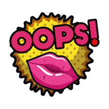 Female Lips With Speech Bubble...
