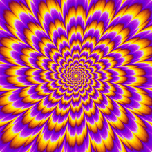 Pulsing Fiery Flower. Optical Expansion Illusion.