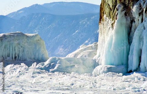 Poster Glaciers Winter on the Baikal, ice and snow on lake. The beauty of the nature of Baikal in winter.