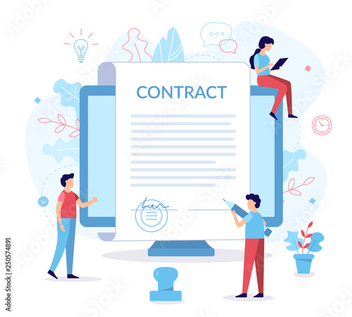 Fototapeta Signing contract flat illustration obraz
