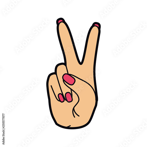 hand with peace sign and love pop art