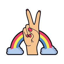 Hand With Peace Sign And Love ...