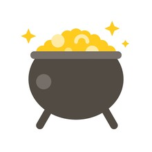 Pot Of Gold Vector, Feast Of Saint Patrick Flat Icon