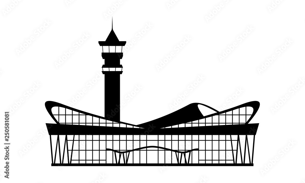 Fototapeta Solid Modern Airport terminal building icon. Isolated Flat design symbol for ticket design. Vector illustration.