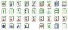 Mahjong Tiles Set, Vector Illustration Flat Design