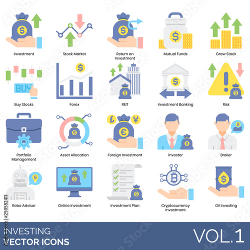 Photo Investing icons including investment, stock market, return, mutual funds, grow,