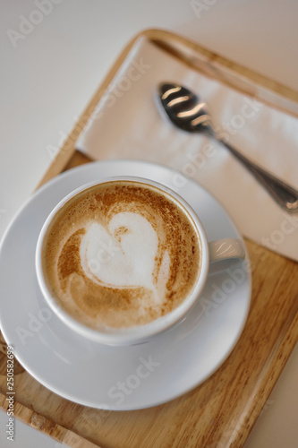 Hot mocha coffee or capuchino with heart pattern Canvas-taulu