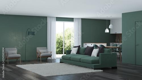 Fotografía  Modern house interior. Green color in the interior. 3D rendering.