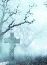 A Scary Graveyard With Gravestone,a Cross Symbol And Dried Up Trees